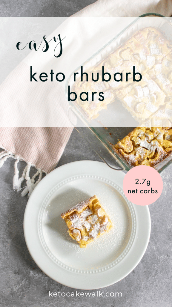 Super easy low carb dessert alert! These keto rhubarb bars are springtime dessert perfection! A thick shortbread crust topped with a silky rhubarb filling. A crowd pleaser, for sure! #keto #lowcarb #rhubarb #bars #dessert #treats #spring #glutenfree #grainfree #sugarfree