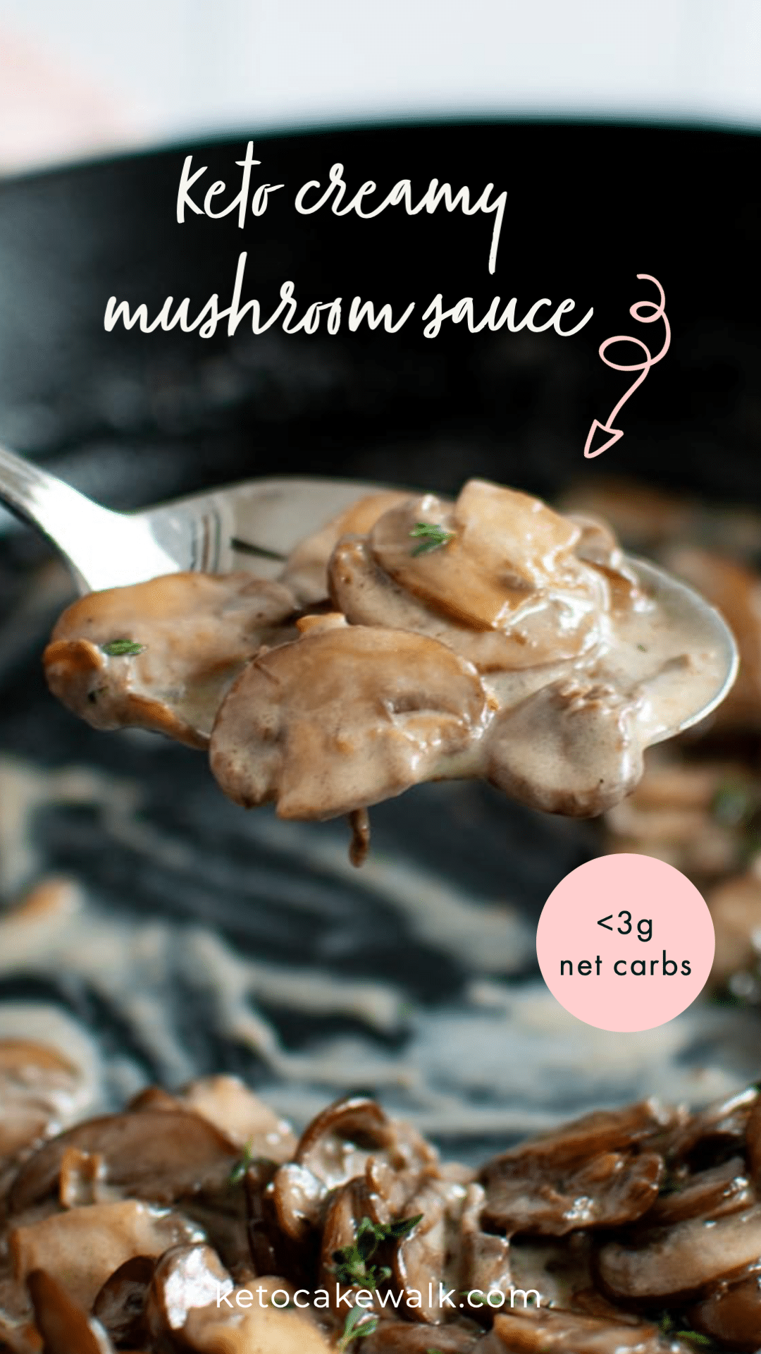 This creamy mushroom sauce comes together in 15 minutes and is a perfect low carb addition to steaks and burgers! #keto #lowcarb #glutenfree #grainfree #mushroom #sauce #steak #burgers #creamy