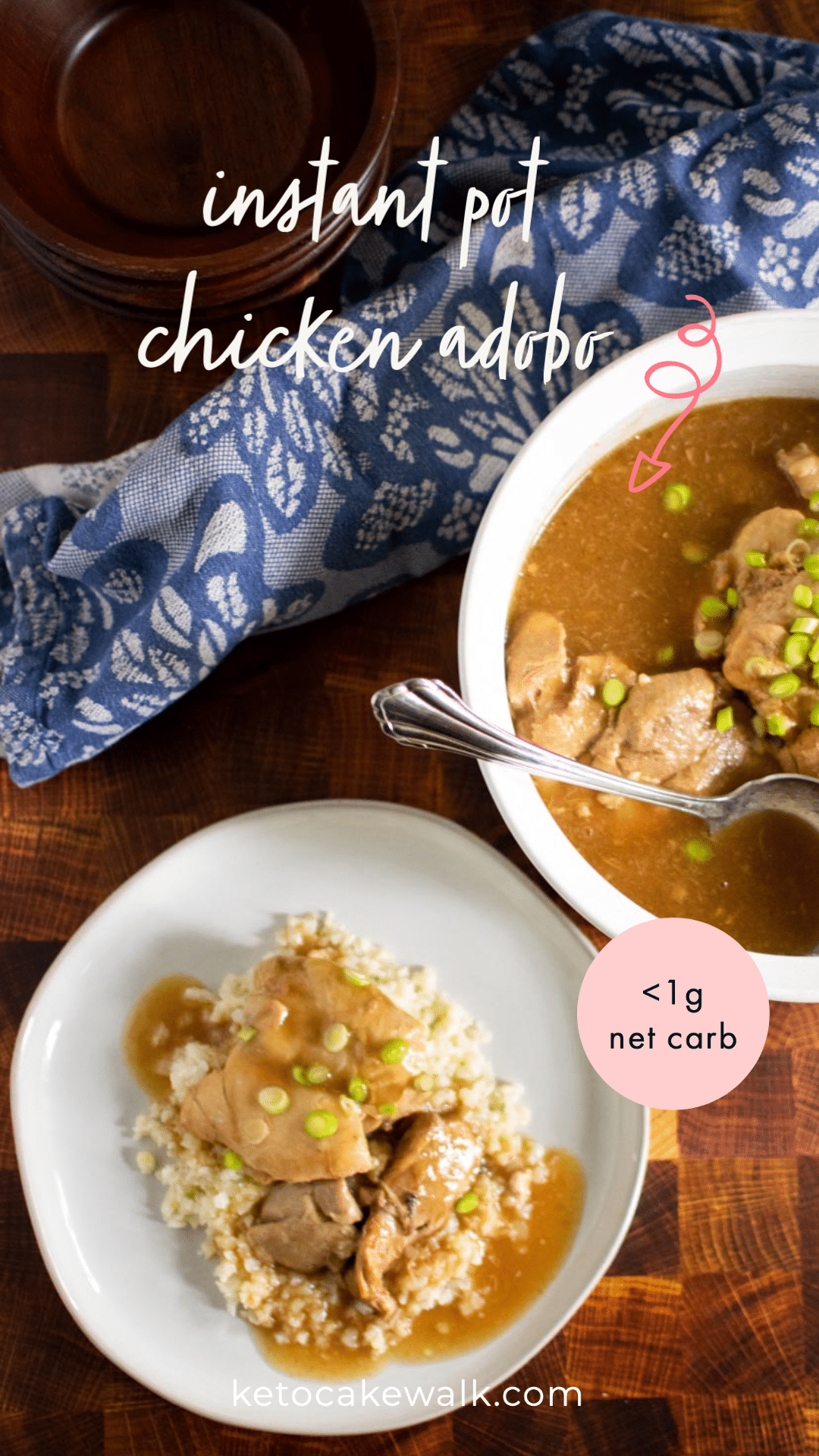 Super easy keto dinner! This chicken adobo cooks super fast in the instant pot and uses frozen chicken! Perfect for busy weeknights. #keto #lowcarb #instantpot #chicken #dinner #filipinofood #adobo #easy #glutenfree #grainfree